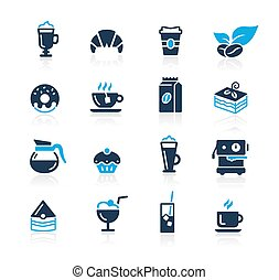 café, azur, magasin, icônes, //, série