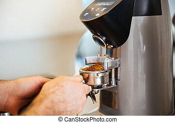café, barista, émoulage
