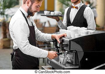 café, barista, elaboración, camarero