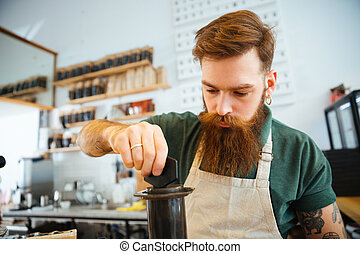 café, barista, préparer