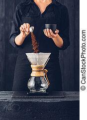café, barista, préparer, professionnel, alternative, méthode