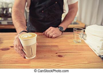 café, barman, donner, visiteur, savoureux, café