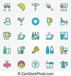café, barre, coloré, icônes