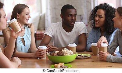café, bavarder, séance, boisson, divers, séduisant, café, amis