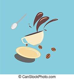 café, beands, renversé, tasse, chaud, dehors