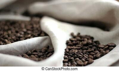 café, beans., en mouvement, appareil-photo.