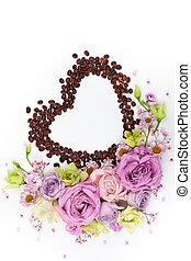 café, beans., salutation, valentin, fleurs, jour, carte