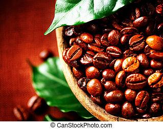 café, beans., tigela, close-up, aromático
