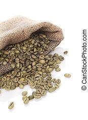 café, beans., verde