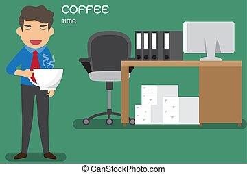 café, because, illustration., cup., grand, boisson, (suffer, dessin animé, plus, sévère, vecteur, besoin, homme affaires, somnolence, addiction., dysentery)
