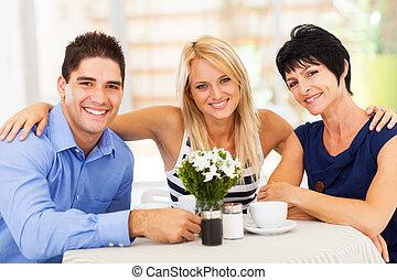 café, belle-mère, homme, épouse