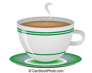 café, blanc, contre, tasse
