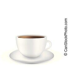 café blanc, fond, tasse