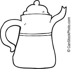 café, blanc, noir, pot, dessin animé