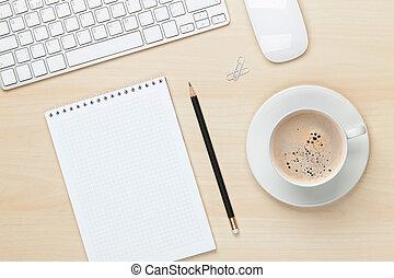 café, bloc-notes, bureau, tasse, informatique, table