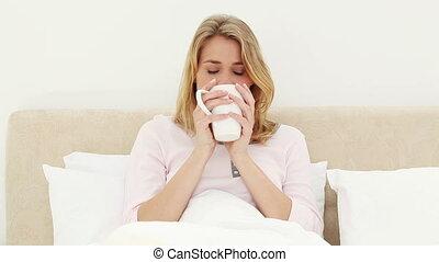 café, boire, femme, heureux