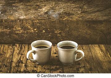 café, bois