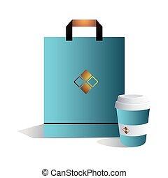 café, bolsa, toma, imagen corporativa, azul, lejos