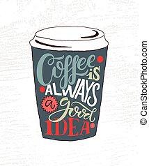 café, bon, affiche, badge/icon., always, idée, main, ...