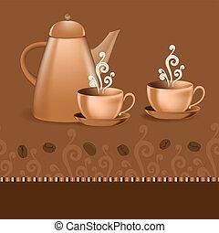 café, borda, tema, seamless