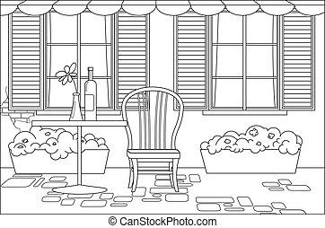café, bouteille, awning., livre, volets, chaise, fleur, rue, plancher, fleurs, vase, coloration, francais, rue, page., table, table., table, fenetres, pots;, vin