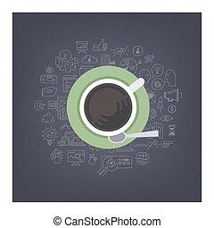café, brain-storming, idées