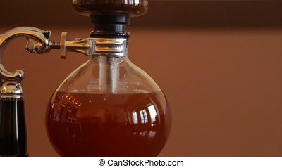 café, brassé, processus, brassage, filtre, verre, par, flacon
