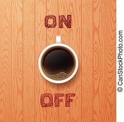 café, break., caliente, taza