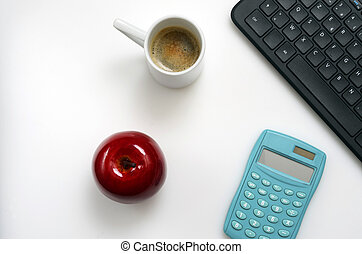 café, bureau bureau, informatique, cahier, clavier