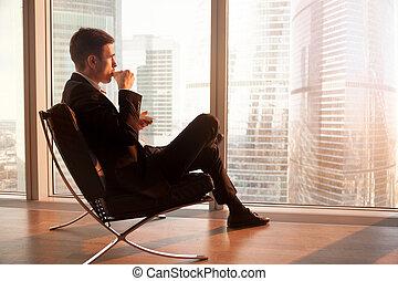 café, bureau, séance, homme affaires, chaise, apprécier, morni