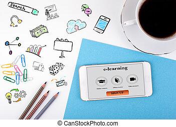 café, bureau, tasse, mobile, concept., téléphone, bureau, e-apprendre, blanc