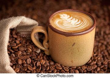 café, burlap, tasse, sac, haricots, rôti