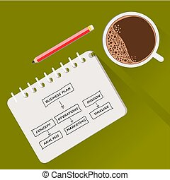 café, business, tasse, livre note, plan