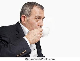 café buvant, homme