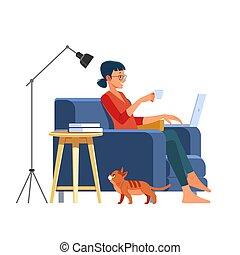 café buvant, maison, beau, temps, illustration, quoique, vecteur, quarantaine, séance femme, dessin animé, pandemic., ordinateur portable, apprécier, grande chaise, confortable, home., fonctionnement, jeune, sourire
