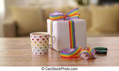 café, cadeau, gay, conscience, fierté, ruban
