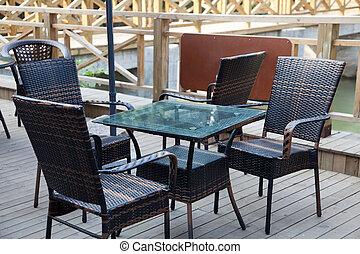 café, cadeiras, vime, sala estar, ao ar livre, tabela