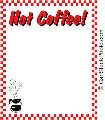 café, cadre, frontière, fond