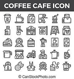 café, café, ícones, esboço