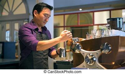 café, café, barista, 4k, préparer