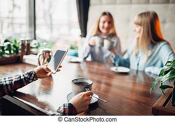 café, café, boissons, petites amies, heureux