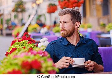 café, café, boissons, rue., homme