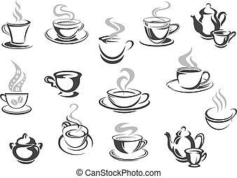 café, café, icônes, cafétéria, grandes tasses, vecteur, thé, tasses