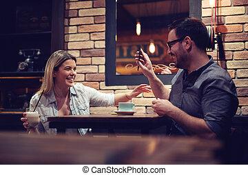 café, café, séance, couple, conversation, apprécier, aimer