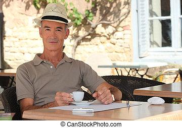 café, café, tasse, personnes agées, apprécier, homme