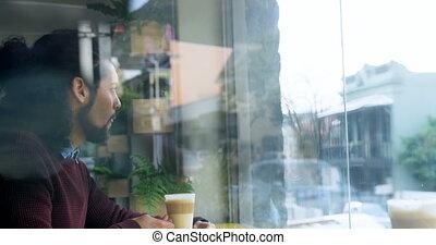 café, cafétéria, avoir, homme, 4k