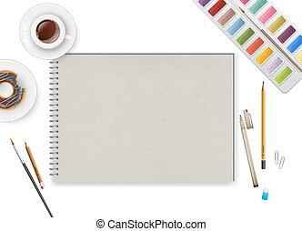 café, cahier, art, espace de travail