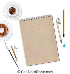 café, cahier, espace de travail