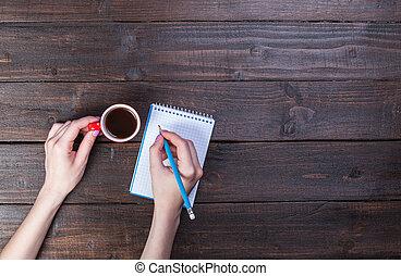 café, cahier, tenue, cup., mains
