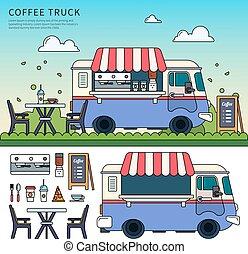 café, calle, camión